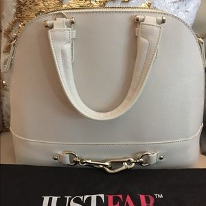 JUSTFAB Ivory Textured FAUX Leather Satchel NWOT